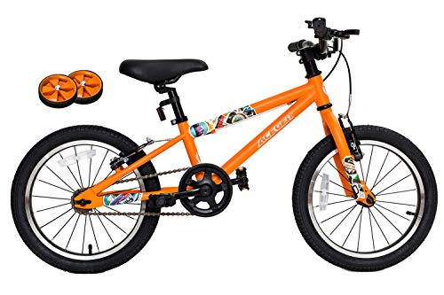 Aceger Kid's Bike for Boys and Girls, 14 inch with Training Wheels/16 inch with Kickstand, DIY Frame (Carrot Orange, 16 inch)