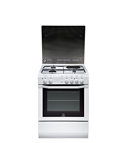 Cuisiniere mixte Indesit I6M6CAGW/FR - Blanc - Classe énergétique A / Plaque Gaz + électrique / Four Electrique Multifonction - Catalyse avec parois