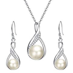 SGS Certified item, EleQueen Original Patented Design, the Highest Quality Standards in Jewelry; Environmental friendly high polished finish genuine 925 Sterling Silver with Cubic Zirconias and Freshwater Cultured Pearl, this wedding jewelry set shin...