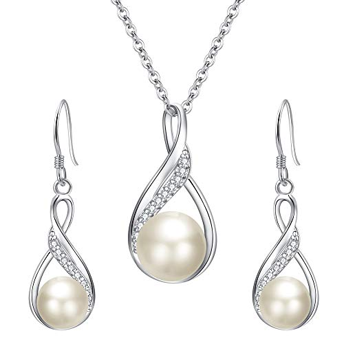 EleQueen 925 Sterling Silver CZ Freshwater Cultured Pearls Bridal Pendant Necklace Earrings Wedding Jewelry Sets