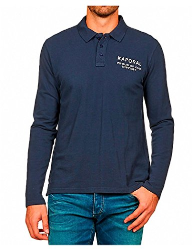 Kaporal - Polo - Uni - Col à boutons - Manches longues - Homme - Bleu (Blue Night) - Medium (Taille fabricant: M)