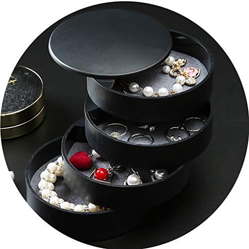 Körbe Behälter Aufbewahrungsboxen Schmuck-Box Transparent Rotating-Kopf-Seil-Box Haarspange Schmuck Lagerung Band-Ohrring-Nagel-Hand-Halskette Sundries Organizer (Color : Black, Size : 11.5 * 17.5cm)