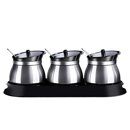 Pots à épices Étagère À Épices Boîte À Assaisonnement Salière Pour Assaisonnement Grande Boîte À Assaisonnement Pour Cuisine Pot À Assaisonnement En Acier Inoxydable Avec Cuillère Combinaison De Range