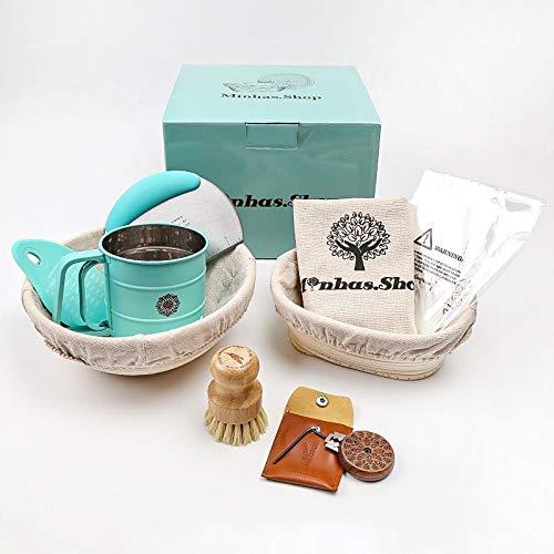 MINHAS.SHOP   9' Round & 8' Oval Banneton Bread Proofing Basket Set of 2   Sourdough Starter Bread Baking Kit   Complete Bread Baking Gift Set   Bread Lame tool   Dough Scraper, Sifter & Stencils