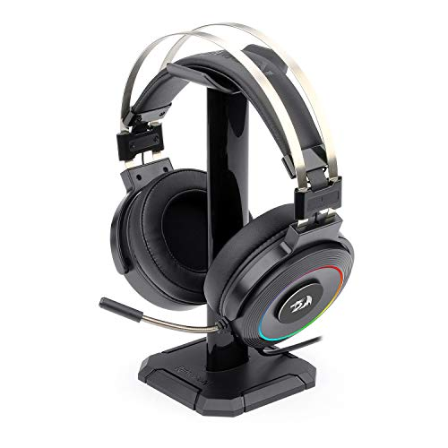 Redragon H320 Lamia Gaming Headset with 7.1 Surround Sound, Volume Control, Noise Cancelling, RGB Light, Stand, Over Ear Wired Headphone, with Mic for PC, PS4, Black