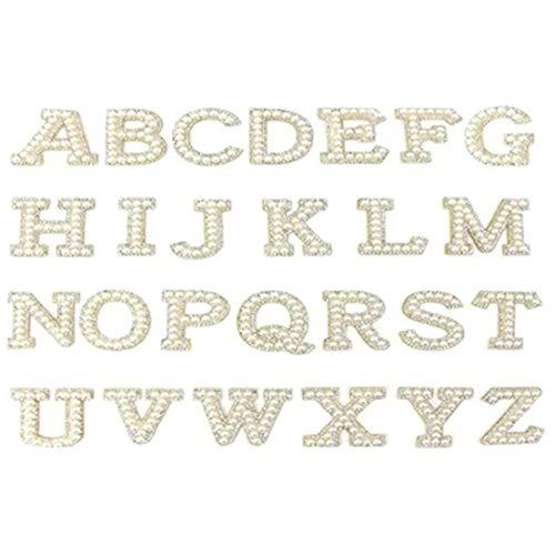 WANWE Parche de Letras Inglesas A-Z Parches de Diamantes de ImitacióN de Perlas para Ropa Aplique de Perlas Blancas Nombre de Bricolaje para Bolsos/Zapatos/Vestidos