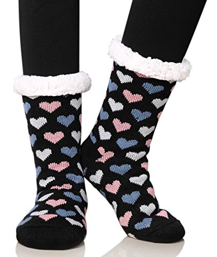 Dosoni Women's Fleece Lining Fuzzy Soft Christmas Knee Highs Stockings Slipper Socks (Heart Black Grey)