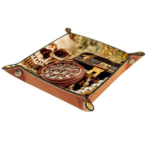 Eslifey Bandeja organizadora vintage con diseño de calavera náutica para mesita de noche, bandeja de escritorio, bandeja para cambiar llaves, monedero, valet, 20,5 x 20,5 cm
