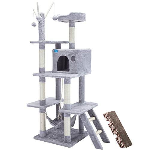 JR Knight Cat Tree Cat Tower with Cat Scratching Post Cat House 157cm Pet Furniture with Hammock, Condominium, Scratching Pad, Hanging Ball Toys for Large Cats (Grey)