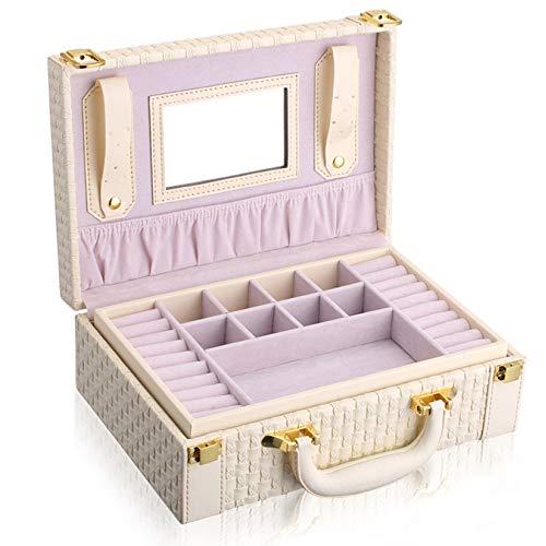 QXTT Joyero Caja Joyero Joyero Organizador Cuero Interior Tela De Flocado Y Espejo Joyero Viaje para Mujeres Y Niñas,Beige