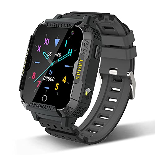 PTHTECHUS Smartwatch Telefono per Bambini, Orologio Telefono Ragazzo e Ragazza Touchscreen con SOS Lettore Musicale Giochi Sveglia Fotocamera Smart Watch Bambino 4-12 Anni Regalo