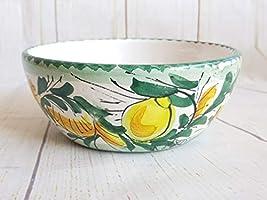 Insalatiera Di Ceramica Siciliana Dipinta A Mano Con Limoni Di Sicilia. Ciotola Le Ceramiche Di Ketty Messina.