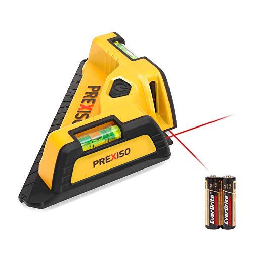 PREXISO Winkellaser mit Wasserwaagen,10M roter Laser, Fliesenlaser 90 Grad, ideal für Fliesenarbeiten und Bodenverlegung inkl. AA Batterie PTL10