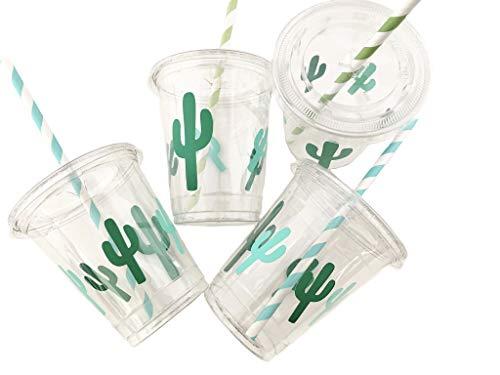 Partybecher mit Deckel, Kaktus, 12 Stück