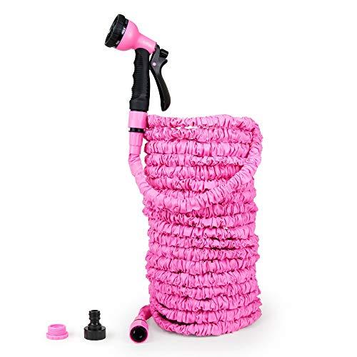 Grafner® Profi Flexibler Gartenschlauch | 30 Meter | Kein Platzen | 8-Fach Brause | pink | Dehnbarer Wasserschlauch Schlauch