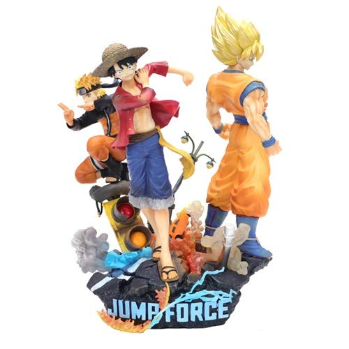 DMCMX Jump Force Handmade Model Characters Uzumaki Naruto Monkey D. Luffy Kakarotto Big Three Street Scene Static Desktop Model PVC Material 18cm Chassis Decoration Color Box
