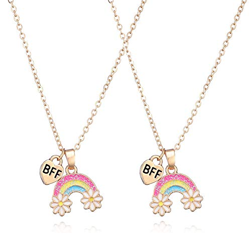 LFYXCW Friendship Best Friend Rainbow Pendant Necklace for 2 Girls