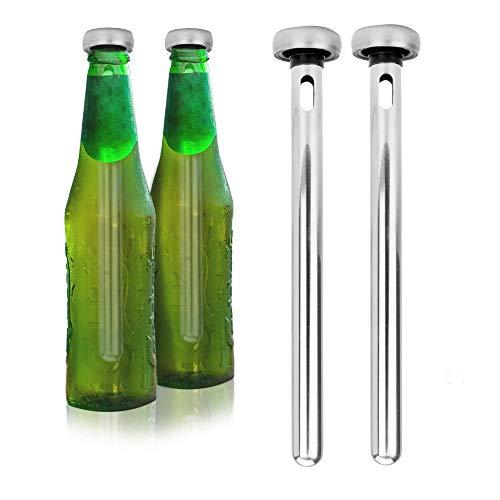 Packung mit 2 Bierkühlstäbchen | Getränkekühler | Bierkühlstäbe aus Stahl | Bier Gadgets | Geschenke für Männer | Eisstöcke für Flaschen | BBQ-Geschenke | M & W