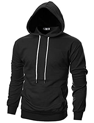 Ohoo Mens Slim Fit Long Sleeve Lightweight Pullover Hoodie With Kanga Pocket/DCF010-BLACK-S
