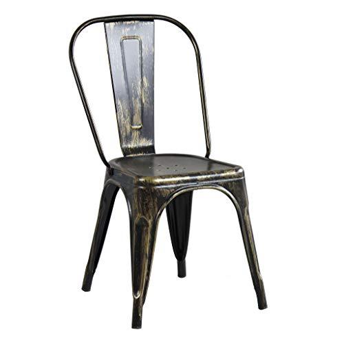 milani home Sedia in Metallo di Design Moderno Industrial Vintage per Sala da Pranzo Bar Ristorante Soggiorno