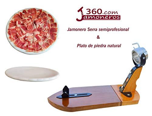 Dreamstone Jamonero semiprofesional Modelo Serra + Plato de Piedra Natural Especial jamón y Embutidos