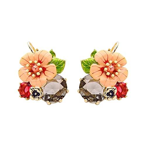 Aprimay Pendientes de gancho de flores esmaltadas con circonitas, diseño elegante, ligeros, duraderos y duraderos para Daliy Life