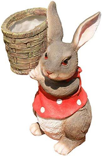 COCECOCE Skulptur Ornamente Statuen Skulpturen Garten Blumentopf Kreative Kaninchen Statue Cartoon Harz Kaninchen Ornament Garten Dekoration Zubehör