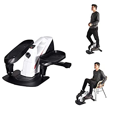 Under Desk Elliptical Machine, Mini Cycle Exercise Bike, Desk Electric Elliptical Machine Trainer with Non-Slip Pedal , Display Monitor & Adjustable Resistance for Home Office Workout (Red and White)