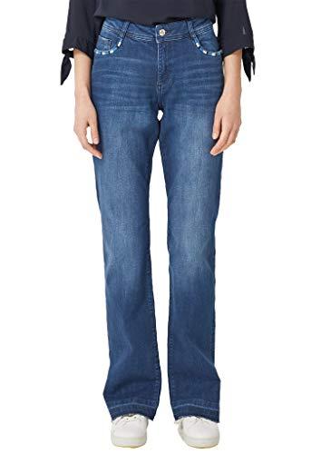 s.Oliver RED LABEL Damen Smart Bootcut: Jeans mit Ethno-Detail blue denim stretch 36.32
