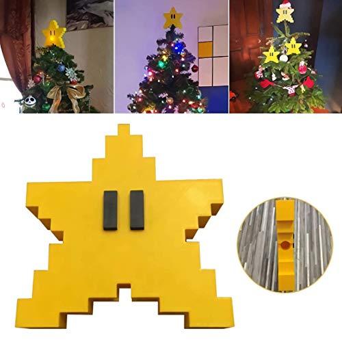 Parayung Retro Super Mario Pixel Stern Weihnachtsbaum Topper 3D Sternform dekorative Topper Ornament Home Decoration