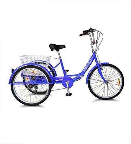 Triciclo de bicicleta para adultos Triciclo de bicicleta cómodo para adultos, pedal humano plegable 3 ruedas aleación de aluminio de 24 pulgadas, ancianos con cesta de compras Compras, deportes, ocio
