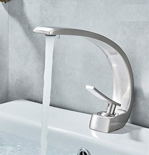 Grifo Chrome lavabo anaranjado grifos de baño moderno de mezclador del grifo de latón grifo del lavabo sola manija grifo elegante de la grúa lavabos (Color : Brushed Nickel)