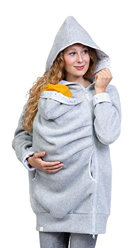 Viva la Mama - Tragehoodie Fleece Babytragejacke Winter warm Jacke mit Einsatz AHOI hellgrau - L