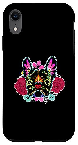 iPhone XR French Bulldog Mexican Sugar Skull Dog Flowers Case