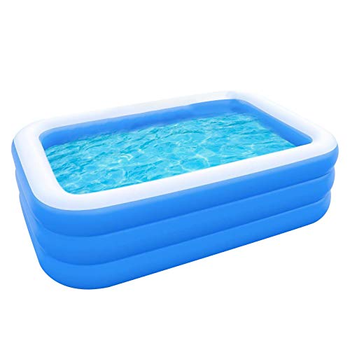 SOBW Piscina hinchable rectangular para jardín, piscina familiar, piscina hinchable, fiesta en el agua de verano, centro de natación para niños, adultos, exterior, Easy Set