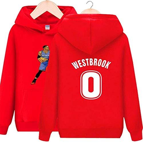 Sudadera con capucha NBA Unisex Houston Rockets Baloncesto Sudadera 0Russell Westbrook Camisa de manga larga Prime Pullover Fleece Hoodie con bolsillo de canguro (color: rojo, tamaño: x-grande) - unis