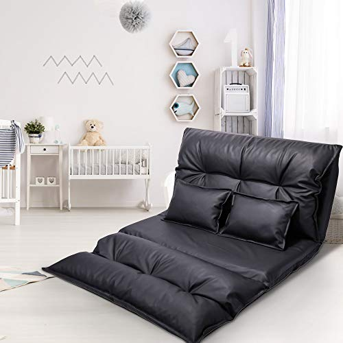 JAXSUNNY Adjustable Floor Sofa PU Leather Leisure Bed, Foldable Chair Bed, Lazy Sofa Couch Video Gaming Sofa with Two Pillows, Black