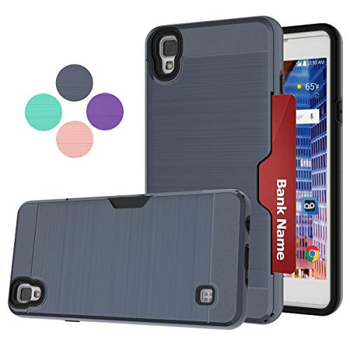 LDStars Compatible for LG Tribute HD/X Style Case, LG LS676,LG Volt 3 Phone Case, [Brushed Texture] PC & TPU Shockproof Protective Cover with Card Slots Holder-Navy Blue