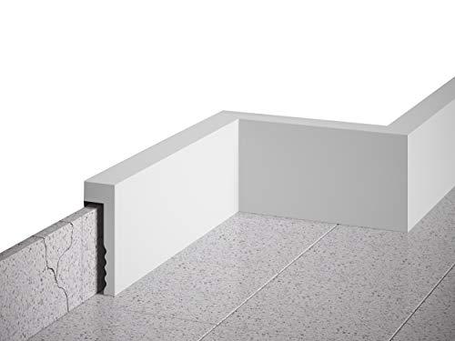 MARDOM DECOR Sockelleiste I MD006 I Fußbodenleiste Kabelkanal Abdeckleiste I 200 cm x 10,1 cm x 2,3 cm