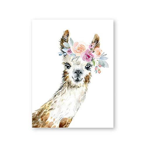 Print Alpaca Wall Art Girl Nursery Decorative Floral Crown Animal Llama Canvas Painting Watercolor Picture Decor-40X50Cm No Frame