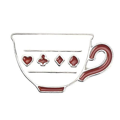 Broche fofo para mulheres, homens, café, xícara de chá, broche esmaltado, bolsa de alfinete, decoração de crachá - xícara de chá