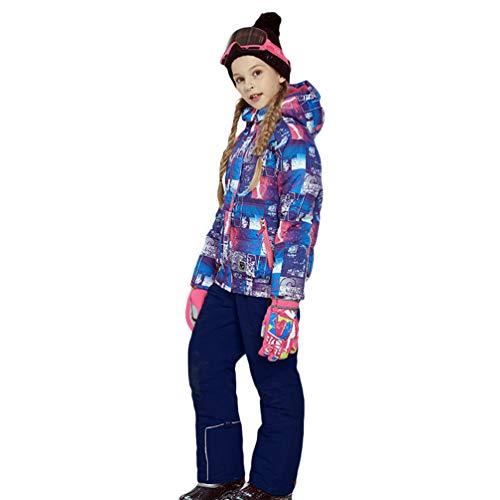 Lvguang Kind Berg wasserdichte Kapuzen Skijacke Winddicht Warme Winterregen Schneejacke Wear & Ski Pants (Blau#2, Asia XL)