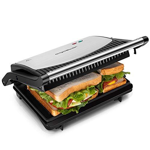 Aigostar York 30RUM - Grill, parrilla, panini, sándwich, 750W de potencia, placas antiadherentes pequeñas: 23 x 14,3 cm, apertura 180º, dos superficies de cocinado. Libre de BPA. Asa de toque frío.