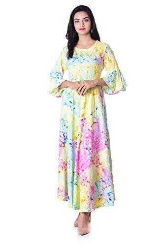 HANDICRAFT-PALACE Women's Gown Stylish Dress Kurti Rayon Fabric Floral Tie...