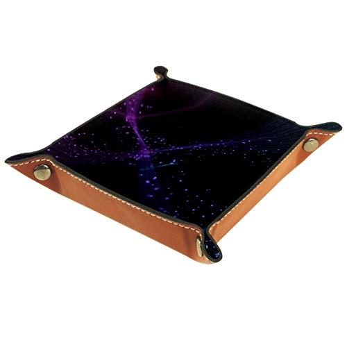 MEITD Bandeja organizadora de escritorio de piel sintética multiusos para mesita de noche, soporte de dados para llaves, teléfono, cartera, monedas, joyería