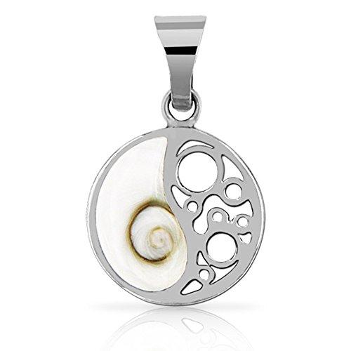 PLANETYS - 925 Sterling Silber Anhänger Yin Yang Auge des Heilige Lucie - Santa Lucia - Oeil de Sainte Lucie - Shiva Eye