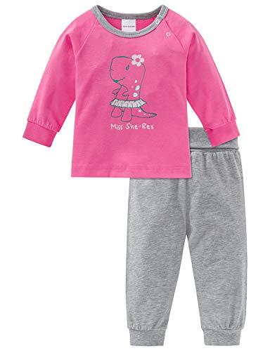 Schiesser Mädchen Baby Anzug lang 2-teilig Zweiteiliger Schlafanzug, Rot (Pink 504), 80 (Herstellergröße: 080)