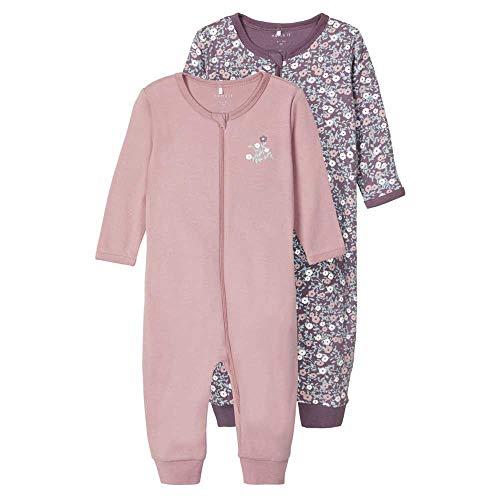 NAME IT Baby Mädchen Schlafstrampler Zip 2er Pack, Black Plum oder Rose Tan (Mehrfarbig (Black Plum), 104)