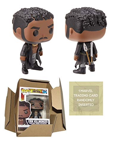 Funko Black Panther Erik KILLMONGER with Scars Pop! Vinyl Figure Bundle with 1 Marvel Trading Card & 1 Cardboard Protector Box