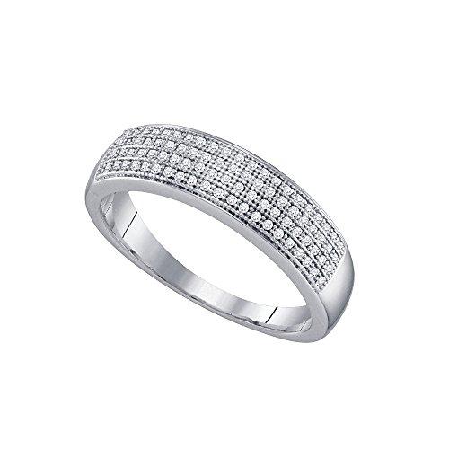 10kt oro blanco para hombre Ronda Pave-Set diamante boda banda anillo 1/4quilates = 0.25quilates (I2-I3claridad, J-K Color)